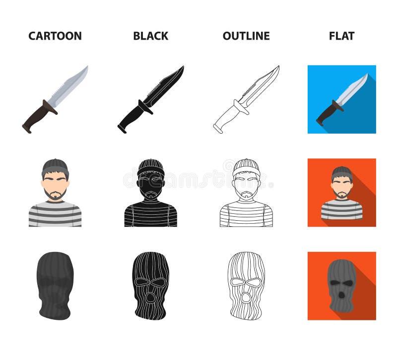 Nóż, więzień, maska na twarzy, stalowy grille Więzienie ustalone inkasowe ikony w kreskówce, czerń, kontur, mieszkanie stylowy we royalty ilustracja