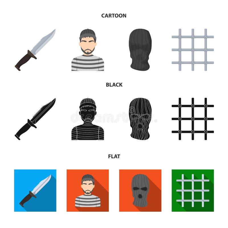 Nóż, więzień, maska na twarzy, stalowy grille Więzienie ustalone inkasowe ikony w kreskówce, czerń, mieszkanie symbolu stylowy we ilustracji