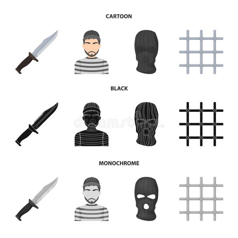 Nóż, więzień, maska na twarzy, stalowy grille Więzienie ustalone inkasowe ikony w kreskówce, czerń, monochromu stylowy wektorowy  royalty ilustracja