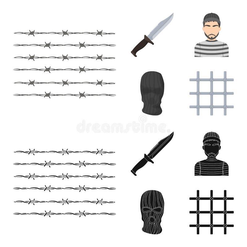 Nóż, więzień, maska na twarzy, stalowy grille Więzienie ustalone inkasowe ikony w kreskówce, czerń symbolu stylowy wektorowy zapa royalty ilustracja