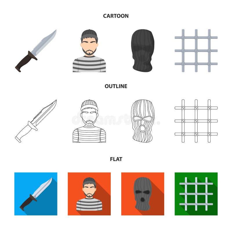 Nóż, więzień, maska na twarzy, stalowy grille Więzienie ustalone inkasowe ikony w kreskówce, kontur, mieszkanie stylowy wektorowy royalty ilustracja