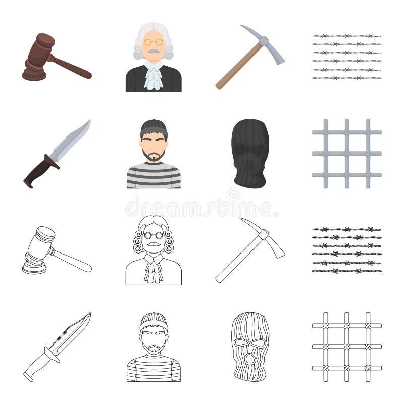 Nóż, więzień, maska na twarzy, stalowy grille Więzienie ustalone inkasowe ikony w kreskówce, konturu symbolu stylowy wektorowy za ilustracji