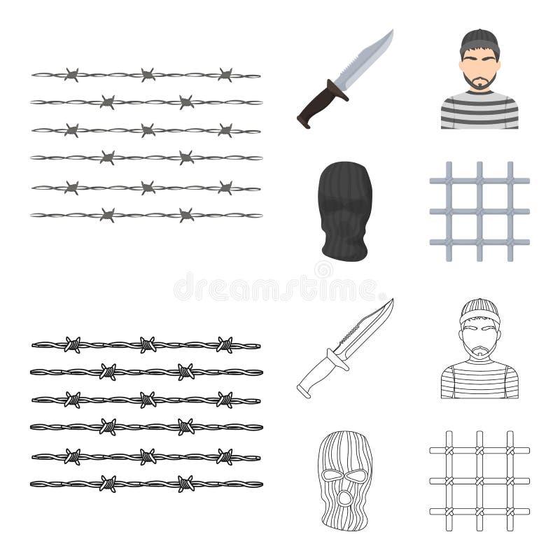 Nóż, więzień, maska na twarzy, stalowy grille Więzienie ustalone inkasowe ikony w kreskówce, konturu symbolu stylowy wektorowy za ilustracja wektor