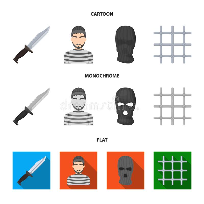 Nóż, więzień, maska na twarzy, stalowy grille Więzienie ustalone inkasowe ikony w kreskówce, mieszkanie, monochromu stylowy wekto ilustracja wektor