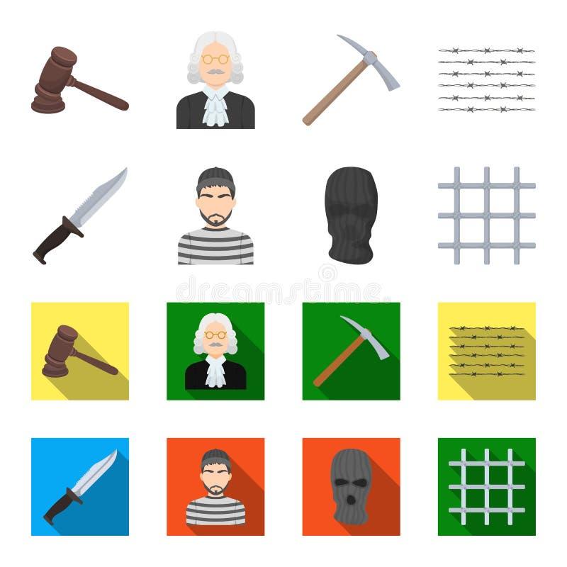 Nóż, więzień, maska na twarzy, stalowy grille Więzienie ustalone inkasowe ikony w kreskówce, mieszkanie symbolu stylowy wektorowy ilustracji