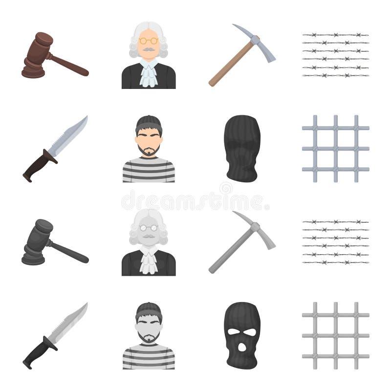 Nóż, więzień, maska na twarzy, stalowy grille Więzienie ustalone inkasowe ikony w kreskówce, monochromu symbolu stylowy wektorowy ilustracja wektor
