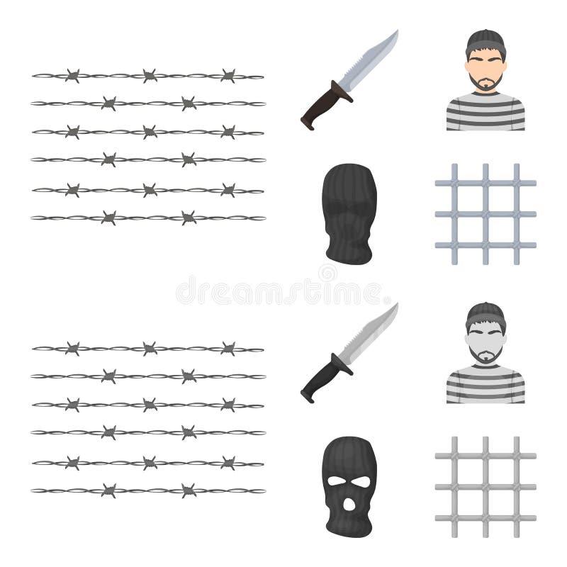 Nóż, więzień, maska na twarzy, stalowy grille Więzienie ustalone inkasowe ikony w kreskówce, monochromu symbolu stylowy wektorowy royalty ilustracja