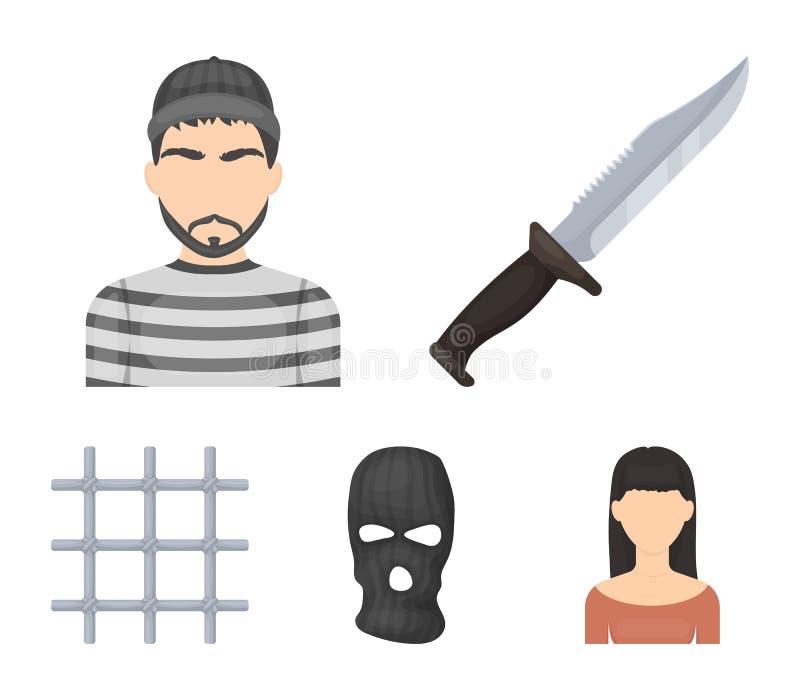 Nóż, więzień, maska na twarzy, stalowy grille Więzienie ustalone inkasowe ikony w kreskówka stylu symbolu wektorowym zapasie ilustracja wektor