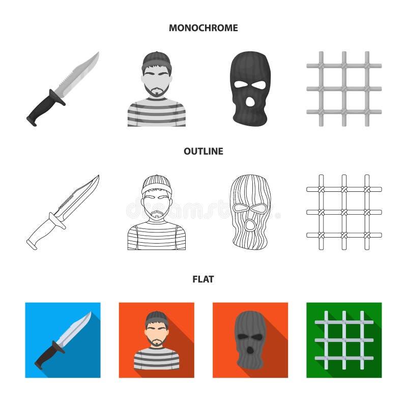 Nóż, więzień, maska na twarzy, stalowy grille Więzienie ustalone inkasowe ikony w mieszkaniu, kontur, monochromu stylowy wektorow royalty ilustracja