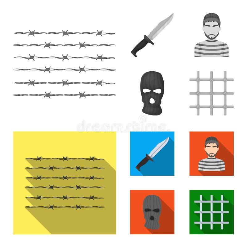 Nóż, więzień, maska na twarzy, stalowy grille Więzienie ustalone inkasowe ikony w monochromu, mieszkanie symbolu stylowy wektorow royalty ilustracja