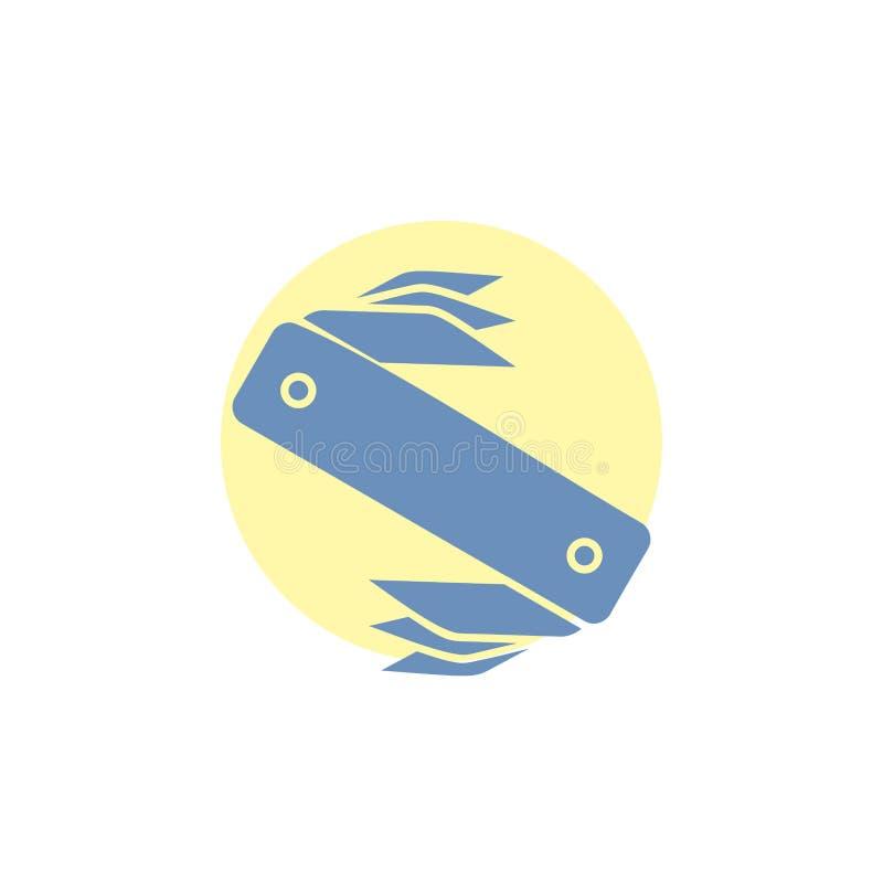 nóż, wojsko, camping, szwajcar, kieszeniowa glif ikona ilustracja wektor