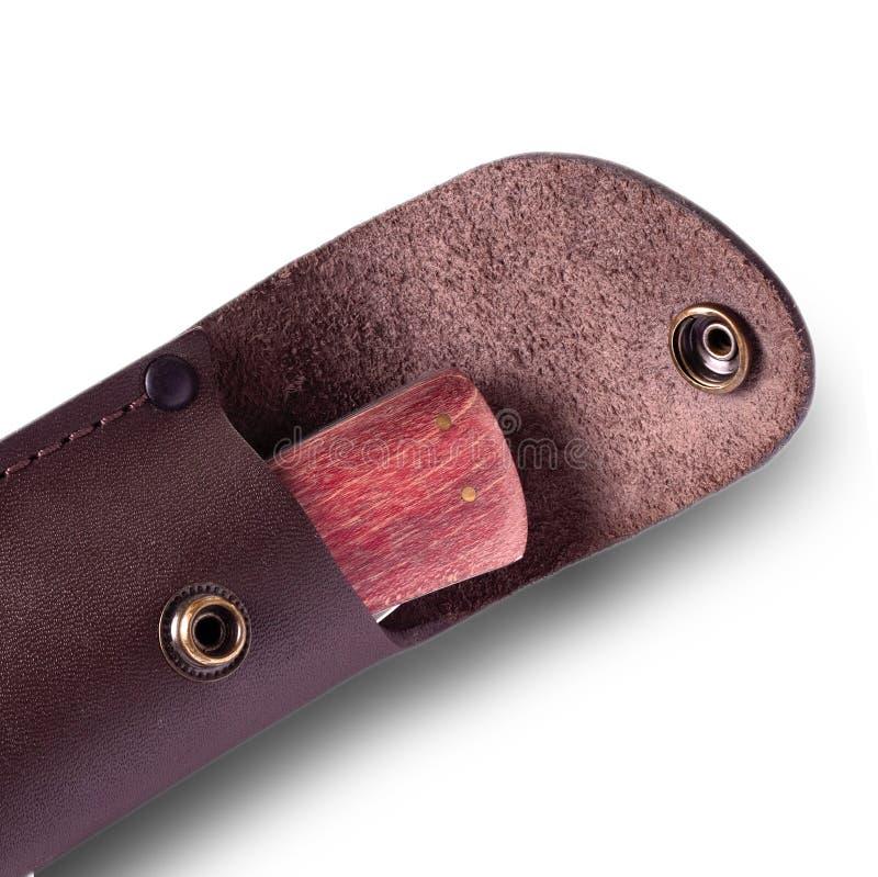 Nóż z drewnianym rękojeści skóry Sheath zdjęcia stock