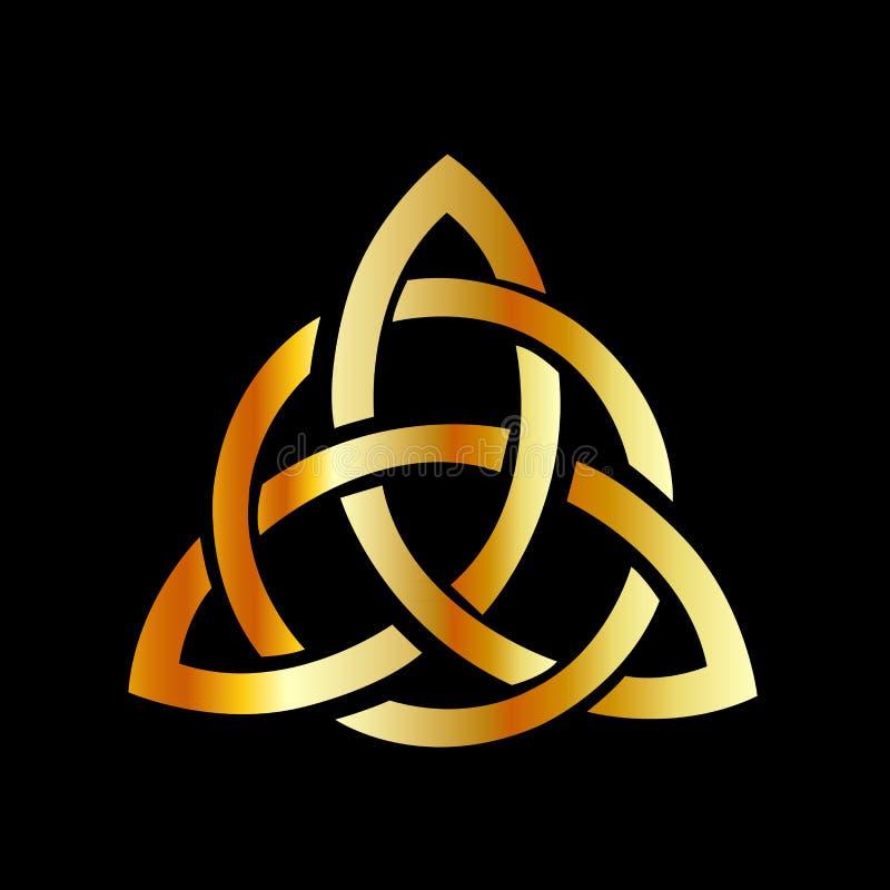 Nó celta do céltico do ponto cross-3 do triquetra dourado ilustração stock