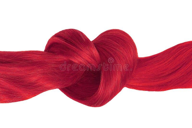 Nó cor-de-rosa do cabelo na forma do coração, isolada no branco fotografia de stock