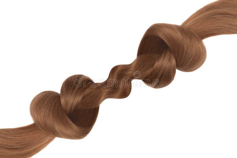 Nó do cabelo de Brown na forma do coração, isolada no fundo branco Conceito do cuidado foto de stock