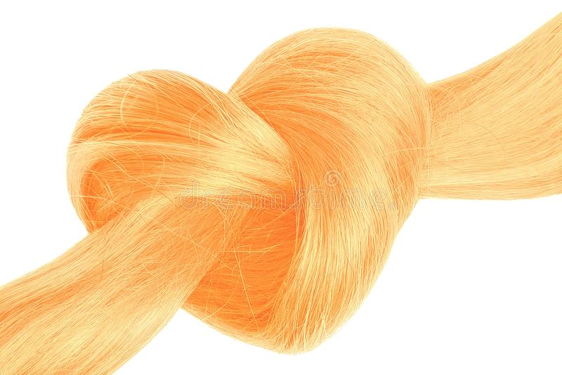 Nó do cabelo louro na forma do coração, isolada no branco fotografia de stock