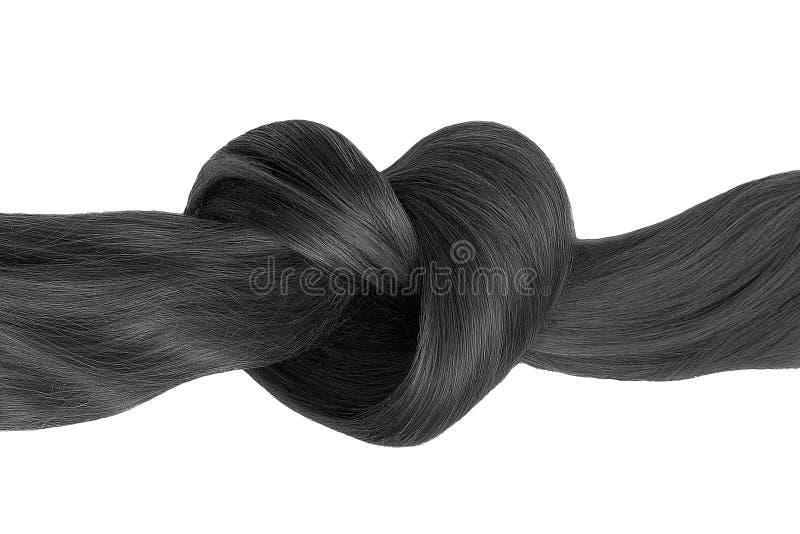 Nó do cabelo preto na forma do coração, isolada no branco imagens de stock royalty free