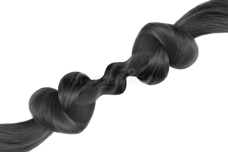 Nó do cabelo preto na forma do coração, isolada no fundo branco Conceito do cuidado imagem de stock