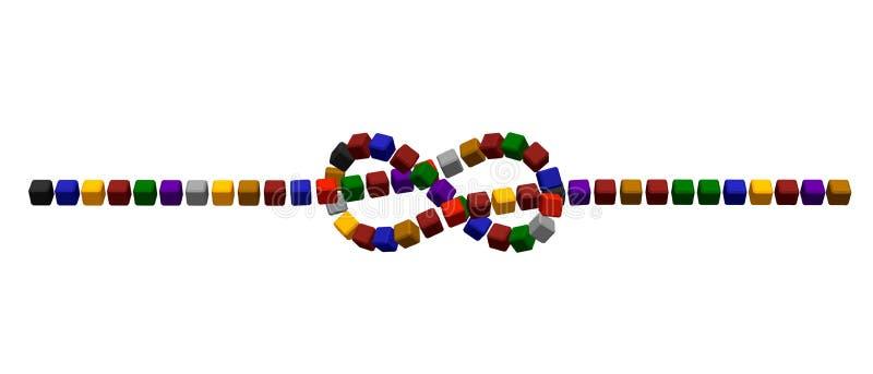 Nó flamengo abstrato de cubos coloridos ilustração do vetor 3d ilustração stock