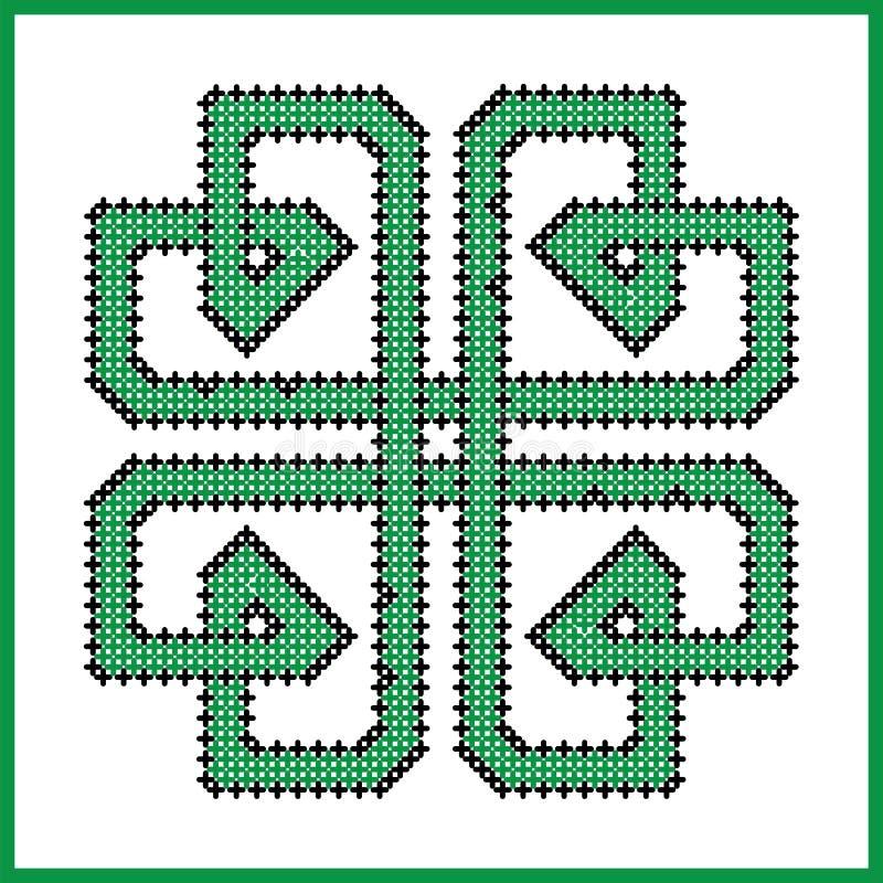 Nó infinito celta na forma quadrada do trevo no preto e no verde ilustração stock