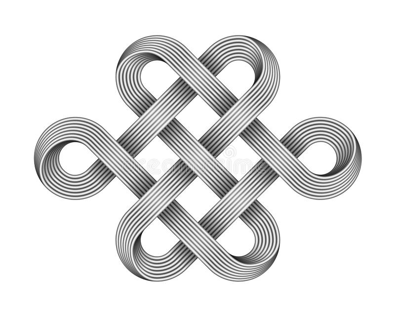 Nó infinito feito de fios de metal cruzados Símbolo budista (JPG +EPS) Ilustração do vetor ilustração stock