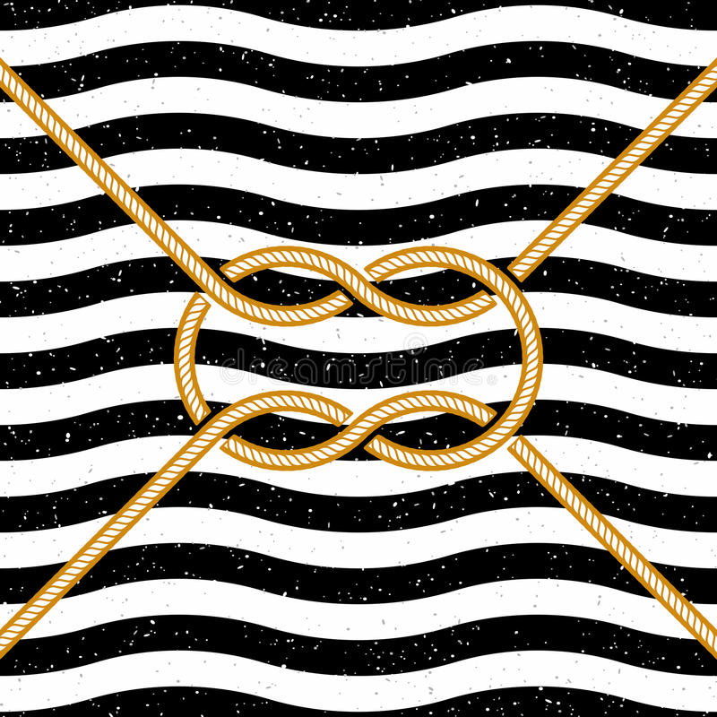 Nó quadrado amarrado em fundo listrado ilustração do vetor