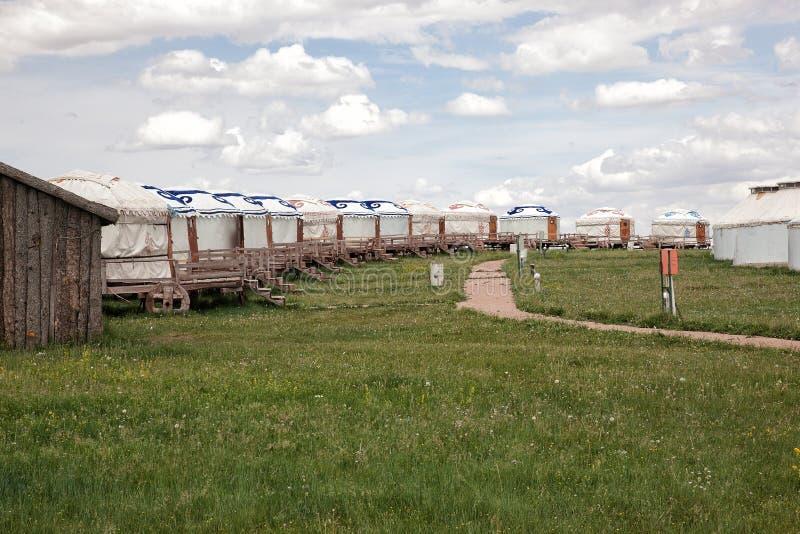 Nómada Gers (yurt) del â de Mongolia imagenes de archivo