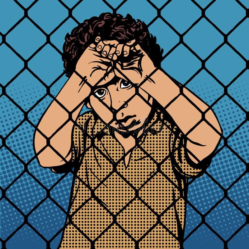 Nómadas del refugiado del muchacho del niño detrás de barras la prisión stock de ilustración