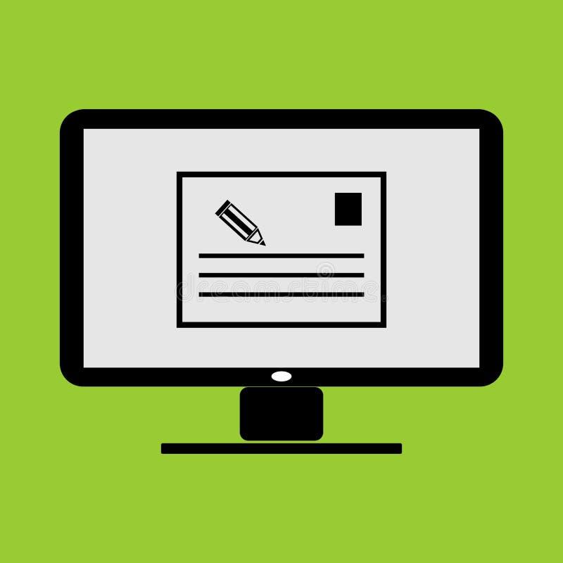 Nómina de notas o aplicación de miniaturas memo en el monitor LC Icono e ilustración vectorial de PC PC ilustración del vector