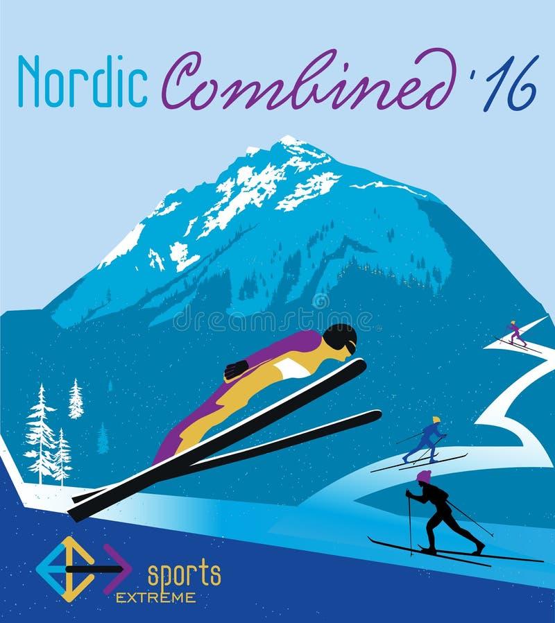 Nórdico retro del cartel combinado en las montañas ilustración del vector