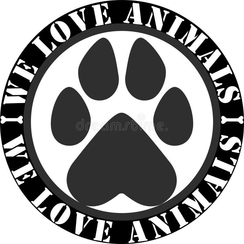 Nós amamos o logotipo dos animais imagens de stock