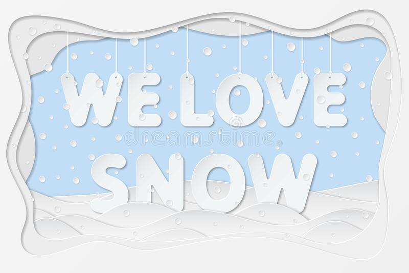 Nós amamos o texto da neve ilustração do vetor