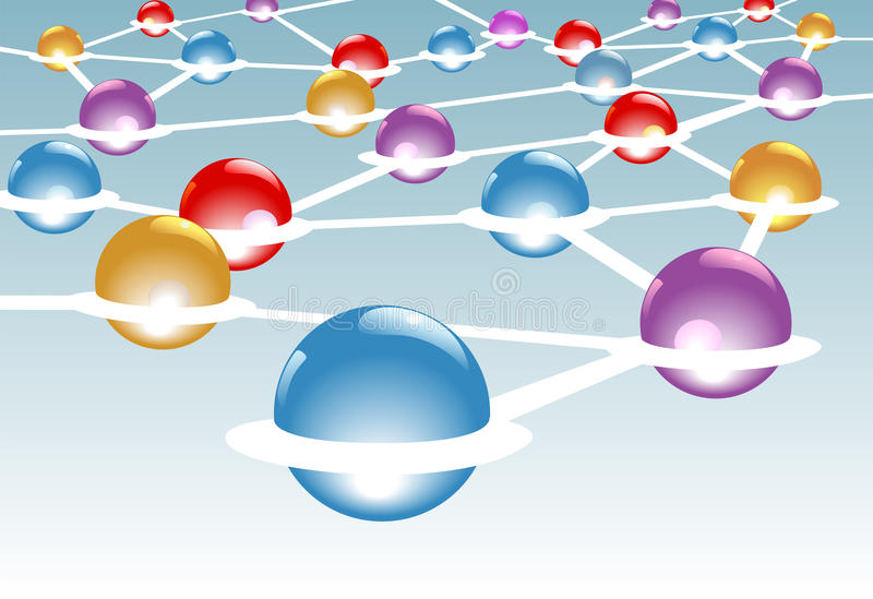 Nós brilhantes conectados no sistema de rede ilustração stock