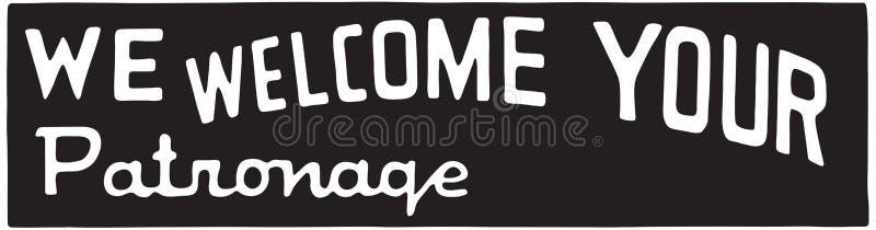 Nós damos boas-vindas a seu patrocínio ilustração stock