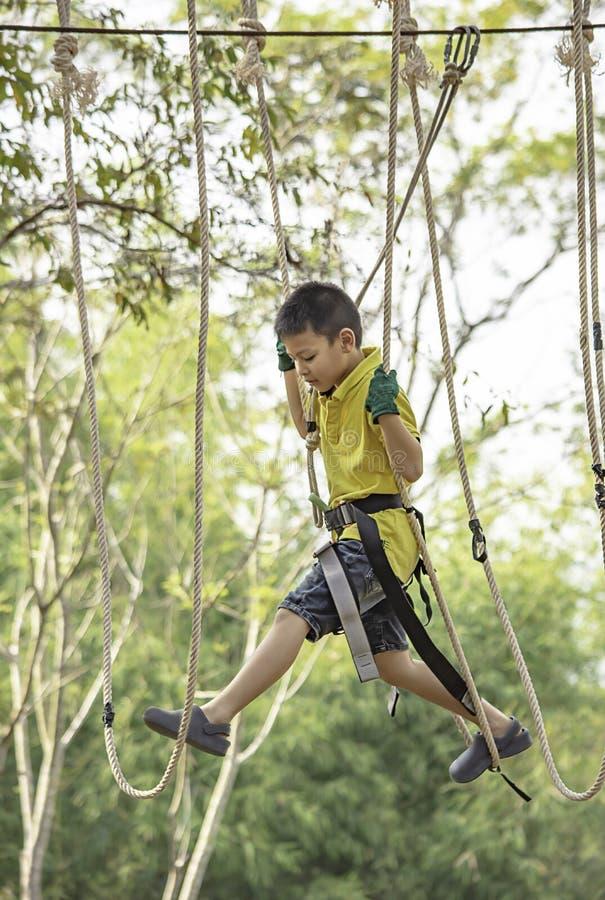 Nós do menino do Asean a corda e sorriso felizmente na árvore obscura do fundo da aventura do acampamento fotografia de stock