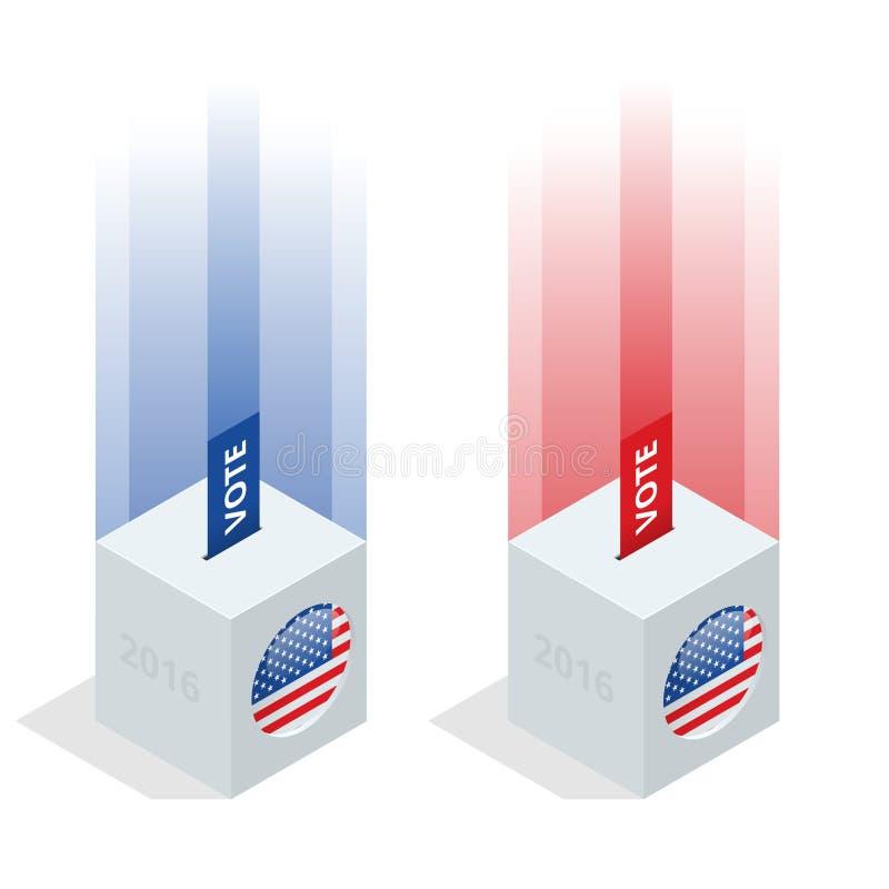 Nós eleição 2016 infographic Urna de voto para uma eleição ilustração do vetor