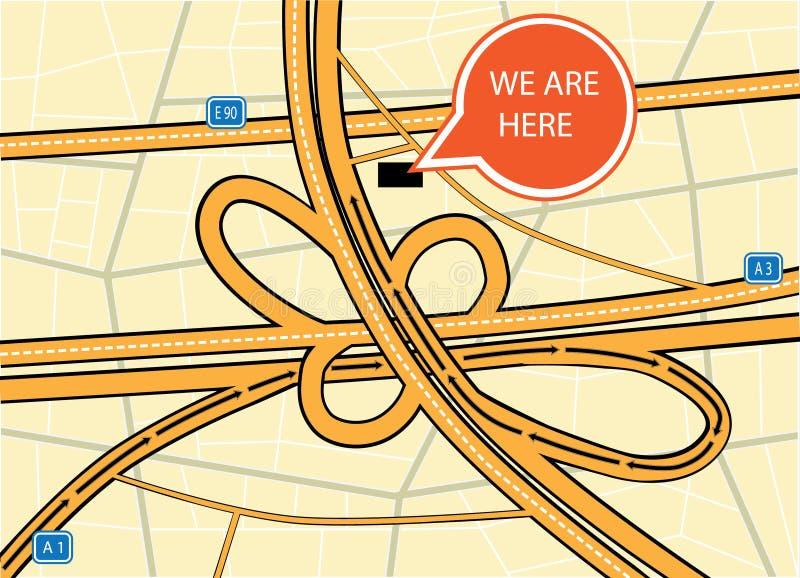 Nós estamos aqui mapa ilustração stock