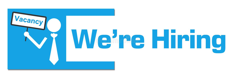 Nós estamos contratando a barra abstrata azul da placa da vaga ilustração do vetor