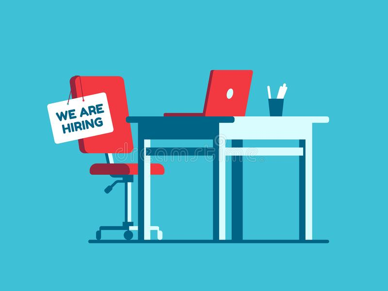 Nós estamos contratando o sinal do emprego no local de trabalho vago Vaga nova dos executivos da empresa Poltrona vazia do escrit ilustração stock