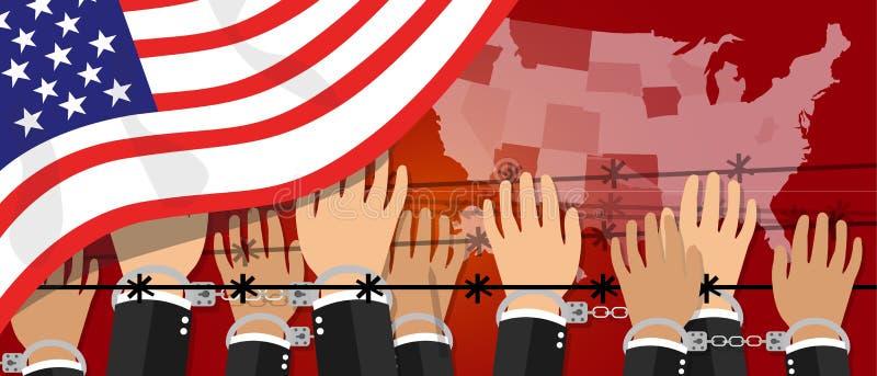 Nós liberdade dos direitos humanos dos EUA na democracia de América Estados Unidos entregam a beira algemada ilustração stock