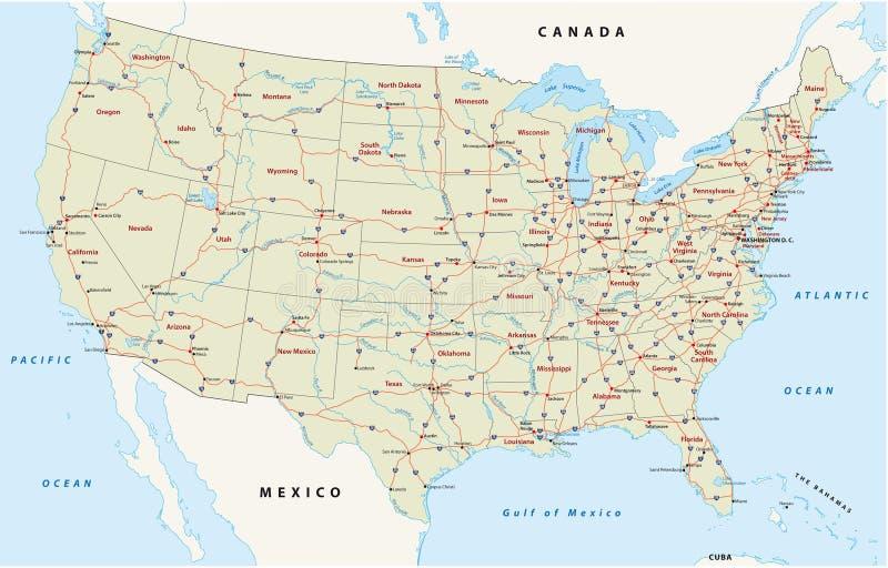 Nós mapa da estrada nacional ilustração royalty free