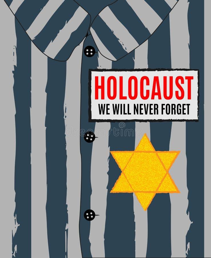 Nós nunca esqueceremos Dia da relembrança do holocausto Estrela amarela David ilustração do vetor