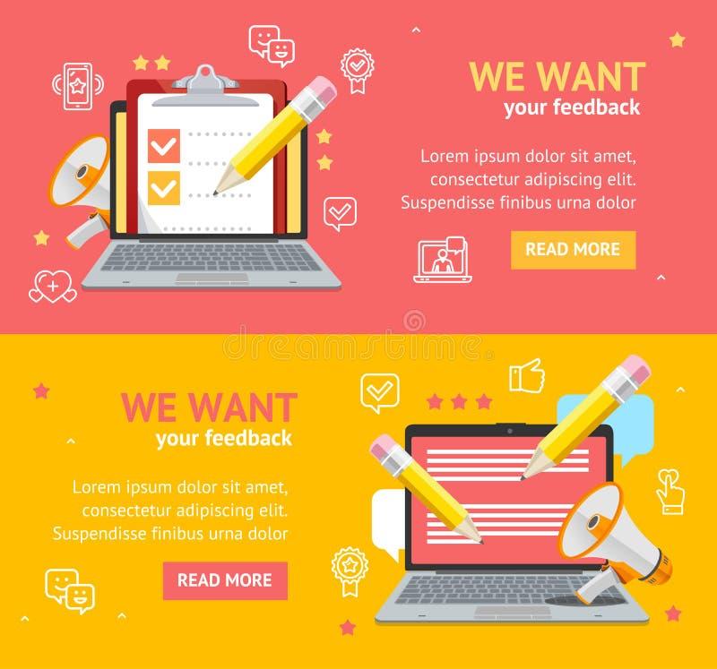 Nós queremos o grupo do cartaz do cartão da bandeira do feedback Vetor ilustração stock