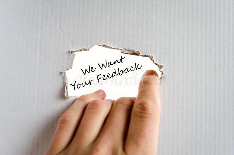 Nós queremos seu conceito do texto do feedback fotografia de stock royalty free