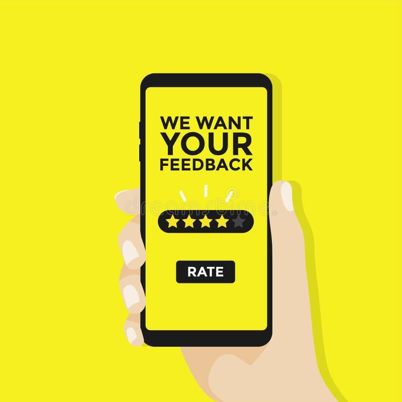 Nós queremos seu feedback, mão queremos dar uma avaliação de cinco estrelas no smartphone ilustração do vetor