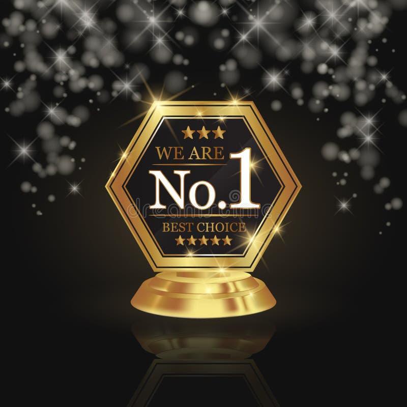 Nós somos concessão dourada do troféu do número 1 na estrela brilhante e backg escuro ilustração do vetor