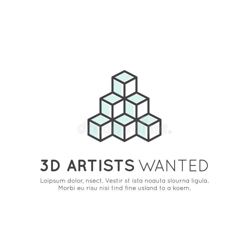 Nós somos de aluguer e de procura internos e desenhistas e os artistas 3D novos! ilustração stock