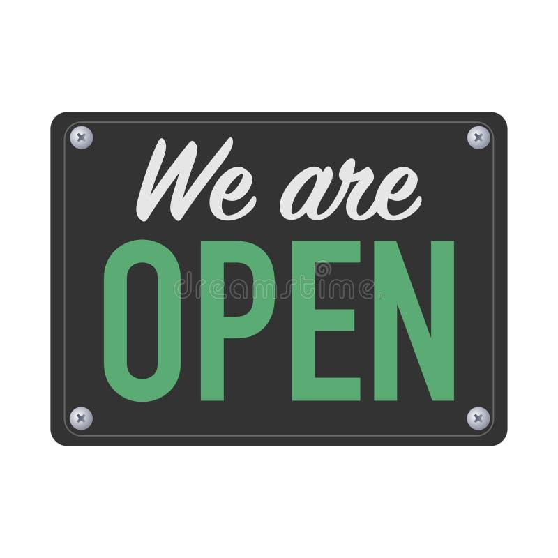 Nós somos sinal aberto da placa para clientes ilustração royalty free