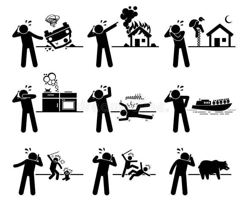 Nöd- appell Clipart stock illustrationer