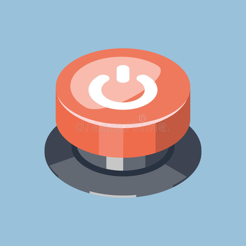 nöd- knapp för stopp för start 3D röd stock illustrationer